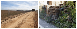 Chainmesh fencing with barb wire and razor wire installations